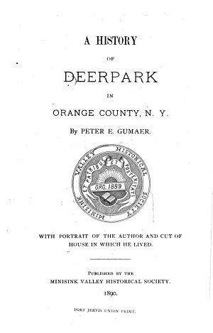 A History of Deerpark in Orange County  N Y