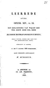Leerrede over Openb. 14, vs. 13, tot gedachtenis van wijlen ... Hendrik Herman Donker Curtius ... predikant te Arnhem
