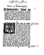 Heere- en redemtiegeld. Ordonnantie, waar op in [...] Holland en Westvriesland [...] sal werden geheeven het heere- en redemtiegeld: ingaande met den ersten january 1750