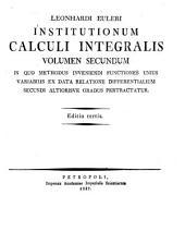 Institutionum calculi integralis: Volume 2