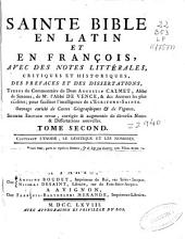 Sainte Bible: en latin et en françois : avec des notes littérales, critiques et historiques