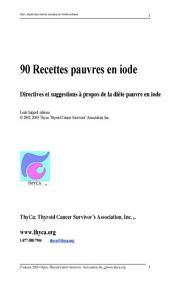 90 Recettes pauvres en iode: Directives et suggestions à propos de la diète pauvre en iode