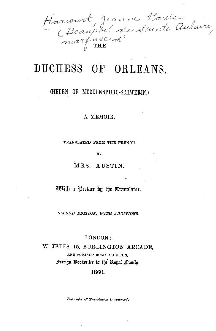 The Duchess of Orleans