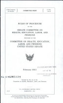 Rules of Procedure of the Senate Committee on Health, Education, Labor, and Pensions