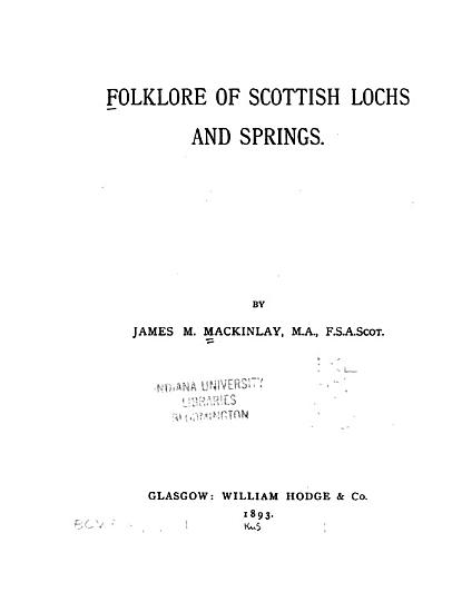 Folklore of Scottish Lochs and Springs PDF