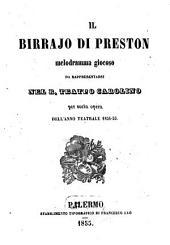Il birraio di Preston: melodramma giocoso : da rappresentarsi nel R. Teatro Carolino per sesta opera dell'anno teatrale 1854 - 55