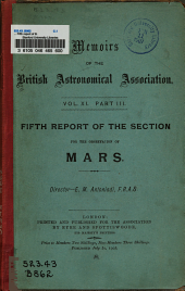 ... Fifth Report of the Section for the Observation of Mars