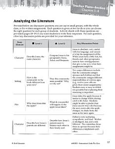 The Giver Leveled Comprehension Questions Book