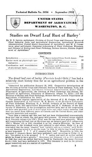 Studies on Dwarf Leaf Rust of Barley