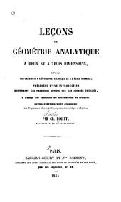 Leçons de géométrie analytique à deux et à trois dimensions