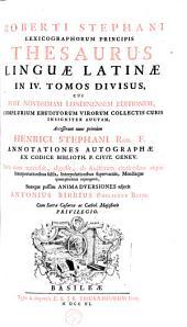 Thesaurus linguae latinae in IV tomos divisus: Volume 1