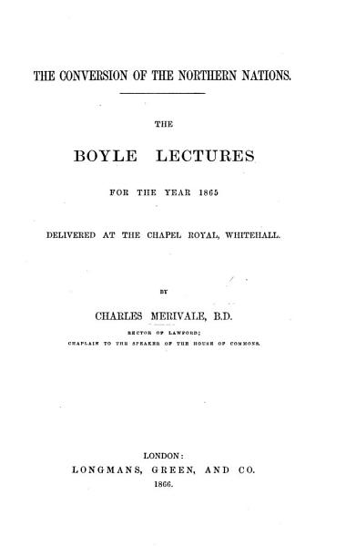 Download The Conversion of the Northern Nations  The Boyle Lectures for     1865  Etc Book