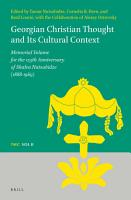 Georgian Christian Thought and Its Cultural Context PDF