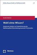 Wahl Ohne Wissen  PDF