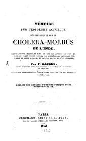 Mémoire sur l'Épidémie actuelle designée sous le nom de Cholera-Morbus de l'Inde