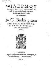 Graecae Epistolae Ab Ipso Nvper Tvm Locvpletiores, tum emendatiores redditae
