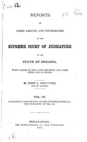 Reports of Cases Argued and Determined in the Supreme Court of Judicature of the State of Indiana: Volume 117