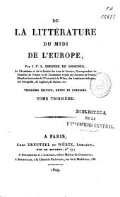 De la litterature du midi de l'Europe: Volume 3