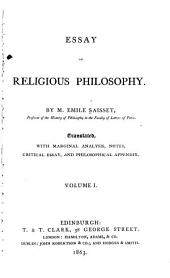 Essay on Religious Philosophy: Volume 1