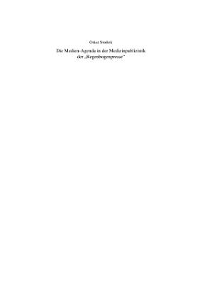 Die Medien Agenda in der Medizinpublizistik der  Regenbogenpresse  PDF