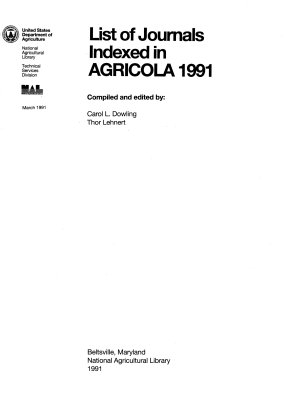 List of Journals Indexed in AGRICOLA