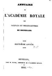 Annuaire de l'Académie royale des sciences et belles-letres de Bruxelles: Volumes7à8