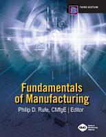 Fundamentals of Manufacturing  Third Edition PDF
