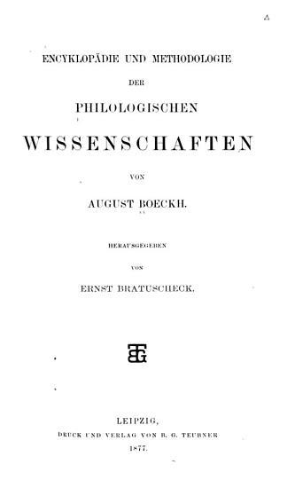 Encyklop  die und Methodologie der philologischen Wissenschaften PDF