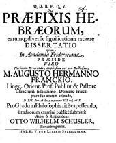 De Praefixis Hebraeorum, earumq[ue] diversae significationis ratione Dissertatio