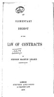An Elementary Digest of the Law of Contracts PDF