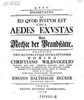 Dissertatio De Eo Quod Justum Est Circa Aedes Exustas ; Vom Rechte der Brandstätte ; Praeside ... Christiano Wildvogelio ... Autor Et Respondens Johann Balthasar Decker ...