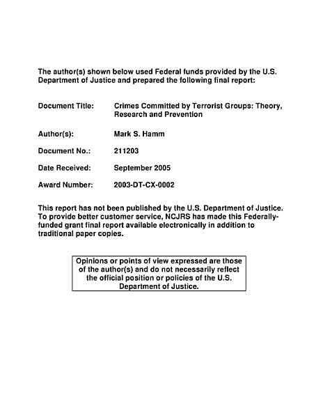 Crimes Committed by Terrorist Groups
