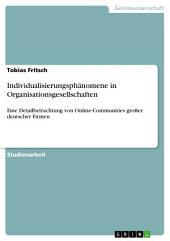 Individualisierungsphänomene in Organisationsgesellschaften: Eine Detailbetrachtung von Online-Communities großer deutscher Firmen