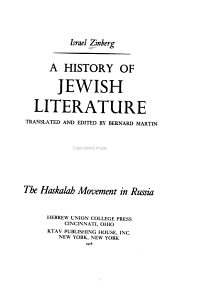 A History of Jewish Literature  The Haskalah movement in Russia PDF