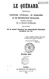 Le Quérard: archives d'histoire littéraire, de biographie et de bibliographie françaises