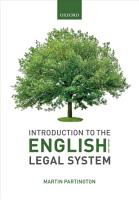 Introduction to the English Legal System 2019 2020 PDF