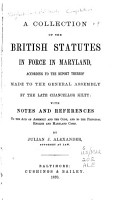 A Collection of the British Statutes in Force in Maryland PDF