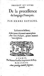 Project du livre intitulé: De la précellence du language François