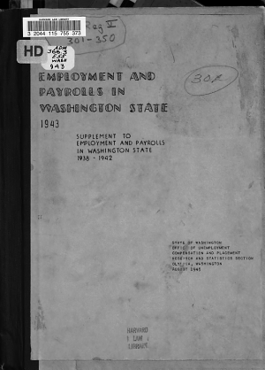 Employment and Payrolls in Washington State  1943 PDF