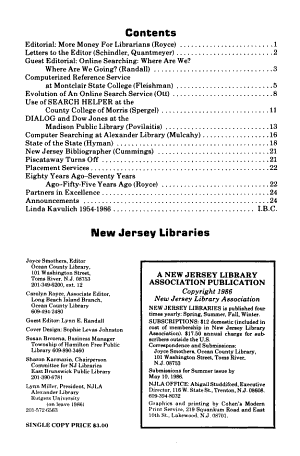 New Jersey Libraries PDF