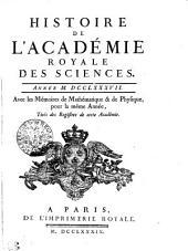 HISTOIRE DE L'ACADÉMIE ROYALE DES SCIENCES. ANNÉE M. DCCLXXXVII. Avec les Mémoires de Mathématique & de Physique, pour la même Année, Tirés des Registres de cette Académie