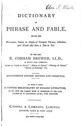 Dictionary of phrase and fable   A dictionary of English literature  by W D  Adams  with additions PDF
