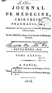 Journal de médecine, chirurgie, pharmacie, etc: Volumes37à38