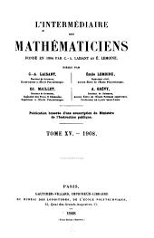 L'Intermédiaire des mathématiciens: Volumes15à16