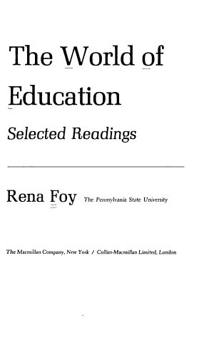 The World of Education  Selected Readings PDF