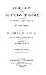 A Codification of the Statute Law of Georgia