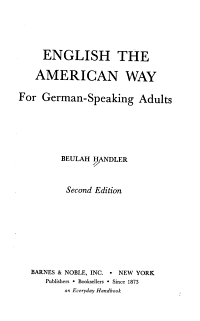 English the American Way for German speaking Adults