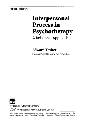 Interpersonal Process in Psychotherapy PDF