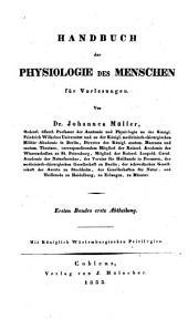 Handbuch der Physiologie des Menschen für Vorlesungen: Band 1