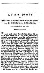 Bericht über Stand und Wirksamkeit des Vereins zur Verbeßrung des Volksschulwesens in Graubünden: Band 3